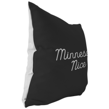 Minnesota Nice Script Pillow in Black and White Side