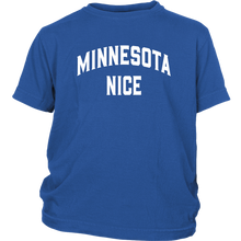 Minnesota Nice Block Youth Tee in Blue