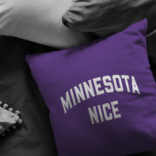 Minnesota Nice Block Pillow in Purple and White in a Room