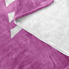 Minnesota Nice Block Fleece Blanket in Pink and White Up Close