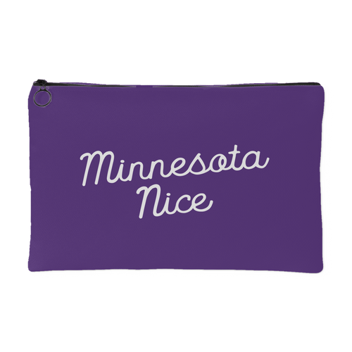Minnesota Nice Script Accessory Pouch in Purple and White Small