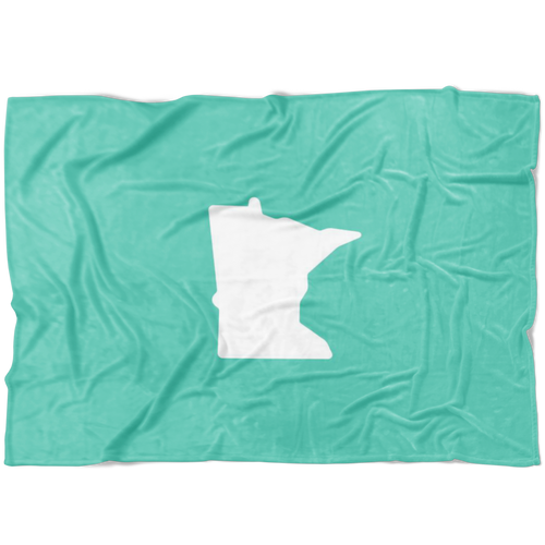 Minnesota Fleece Blanket in Mint and White