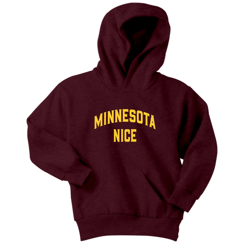 Minnesota Nice Block Youth Hoodie in Maroon and Gold