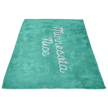 Minnesota Nice Scrip Fleece Blanket in Mint and White Side View