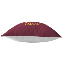 Minnesota Nice Script Pillow in Maroon and Gold Bottom View