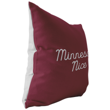 Minnesota Nice Script Pillow in Maroon and White Side