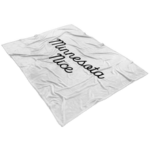 Minnesota Nice Script Fleece Blanket in White and Black View