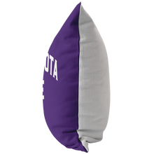 Minnesota Nice Block Pillow in Purple and White Side View