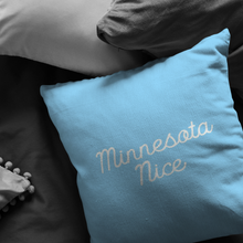 Minnesota Nice Script Pillow in Baby Blue and White in a Room
