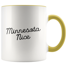Minnesota Nice Script Accent Mug in Yellow
