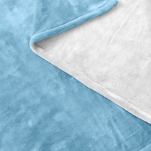 Minnesota Fleece Blanket in Baby Blue and White Up Close