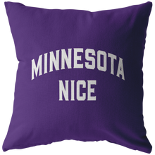 Minnesota Nice Block Pillow in Purple and White