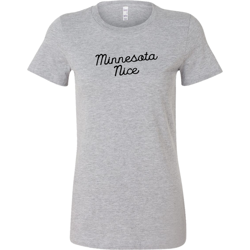 Minnesota Nice Script Women's Fitted Tee in Heather Grey