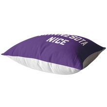 Minnesota Nice Block Pillow in Purple and White Laying Down