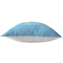 Minnesota Nice Script Pillow in Baby Blue and White Bottom View