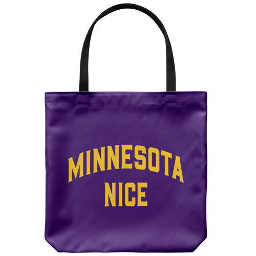 Minnesota Nice Block Tote Bag in Purple and Gold