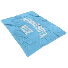 Minnesota Nice Block Fleece Blanket in Baby Blue and White View