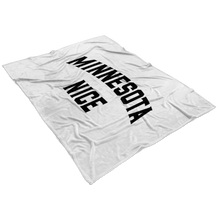 Minnesota Nice Block Fleece Blanket in White and Black View