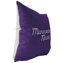 Minnesota Nice Script Pillow in Purple and White Side