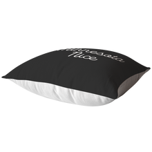 Minnesota Nice Script Pillow in Black and White Laying Down