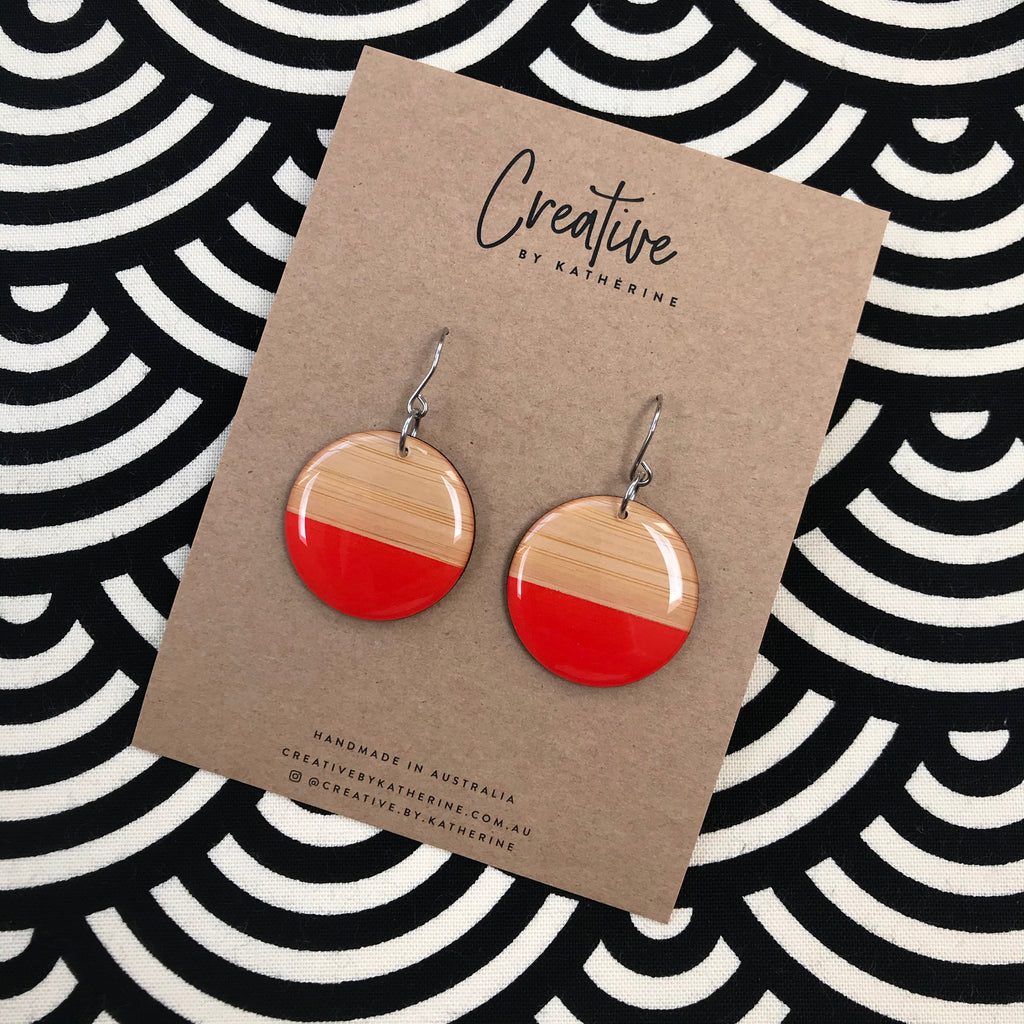Red & bamboo - large circle dangles