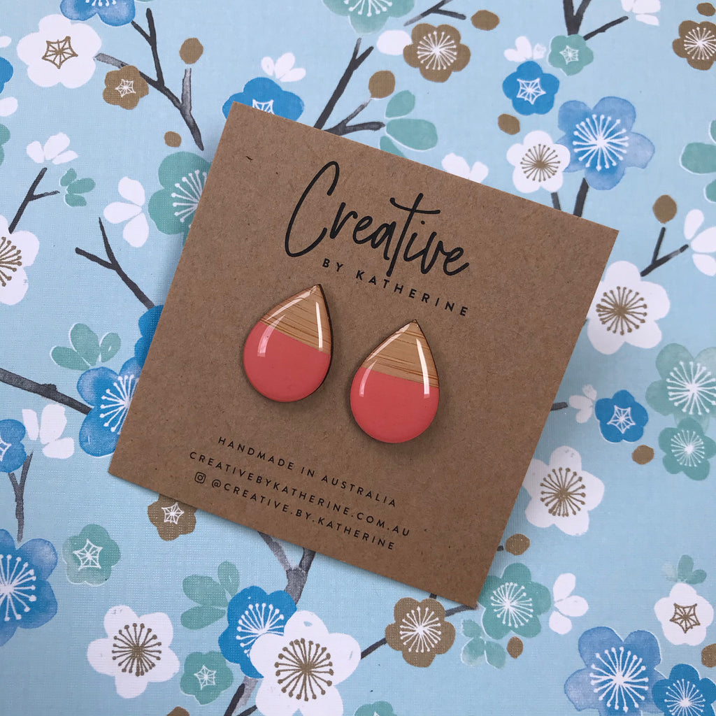 Salmon & bamboo - small tear drop studs