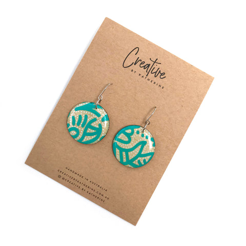 Coloured Karuna - turquoise circle dangles