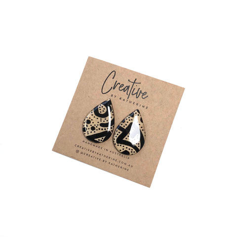 Coloured Karuna - black large tear drop studs
