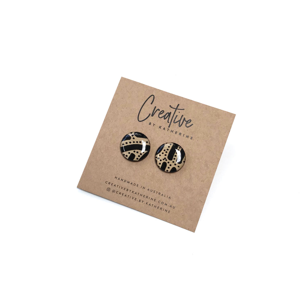 Coloured Karuna - black small circle studs