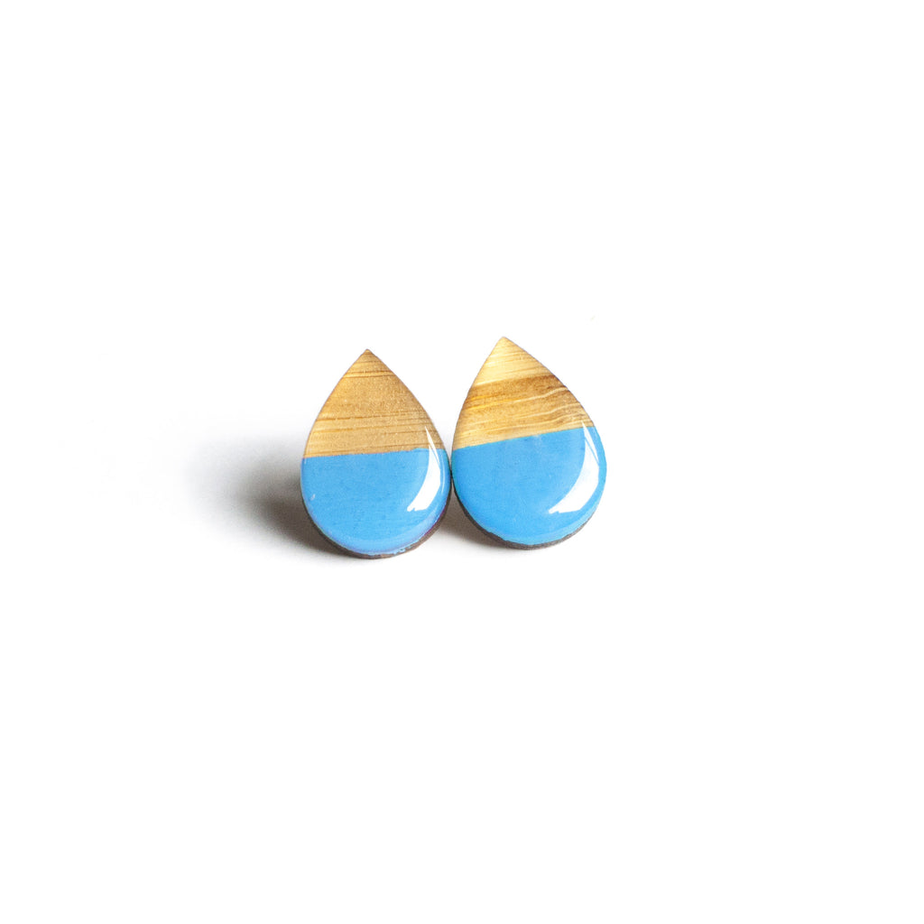 Large tear drop studs - Blue