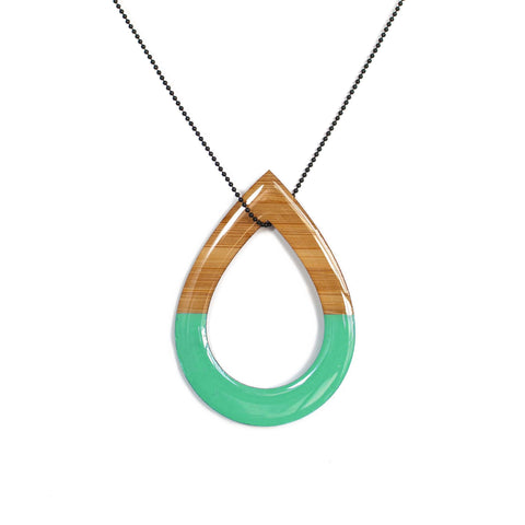 Double sided tear drop necklace - Emerald green