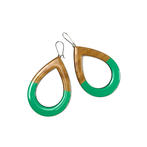 EXTRA Large dangly earrings - Green