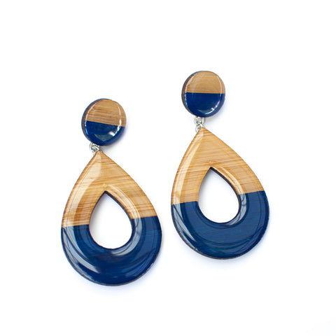 Large dangly earrings - Navy