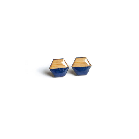Hexagon Studs - Navy
