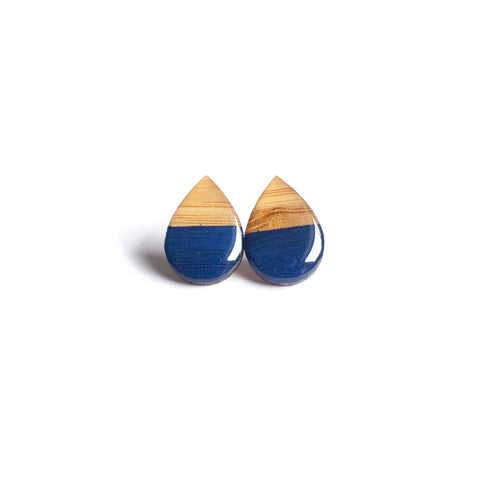 Large tear drop studs - Navy
