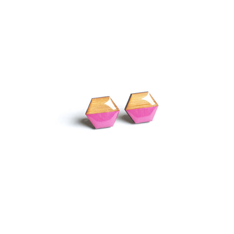 Hexagon Studs - Pink