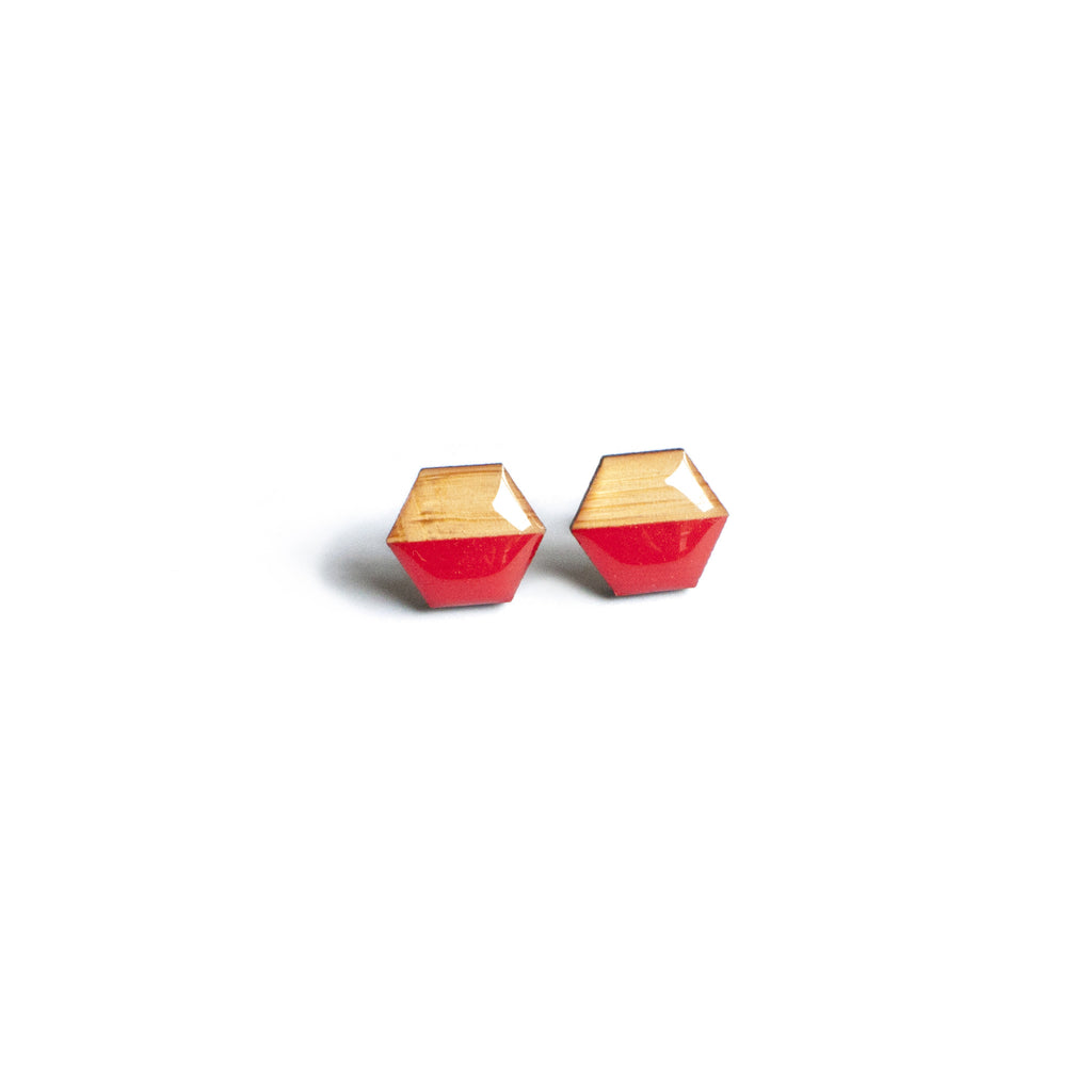 Hexagon Studs - Red