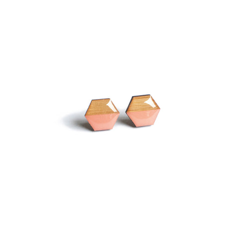 Hexagon Studs - Salmon