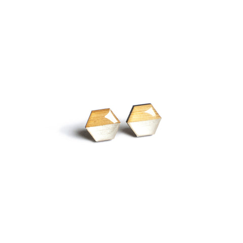 Hexagon Studs - Silver