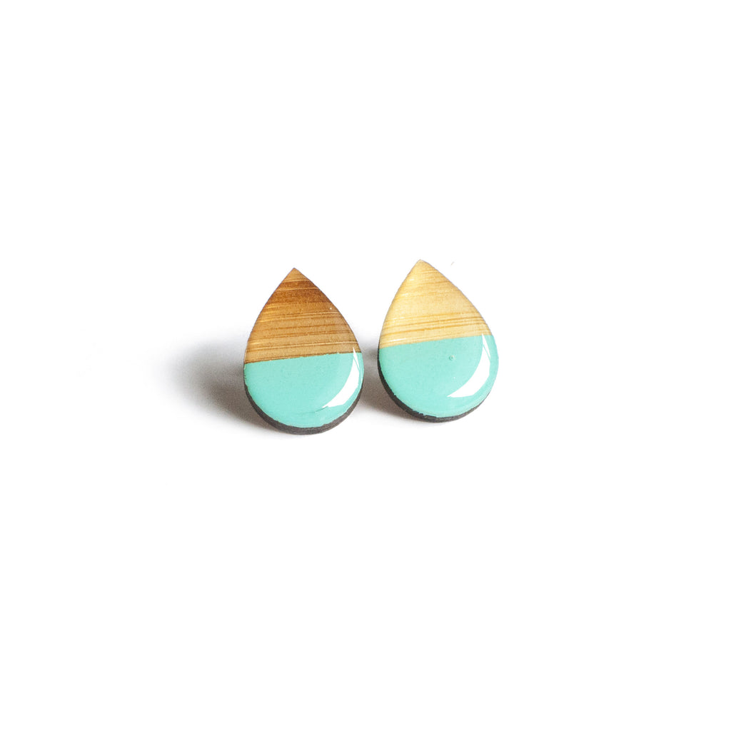 Large tear drop studs - Turquoise
