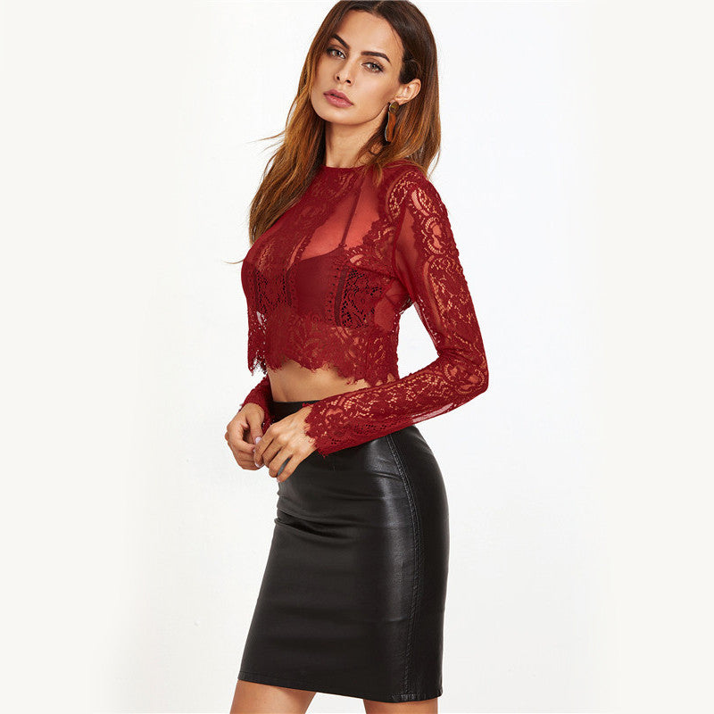 Lace See-through Crop Shirt Women Summer 2017 - saÿtii