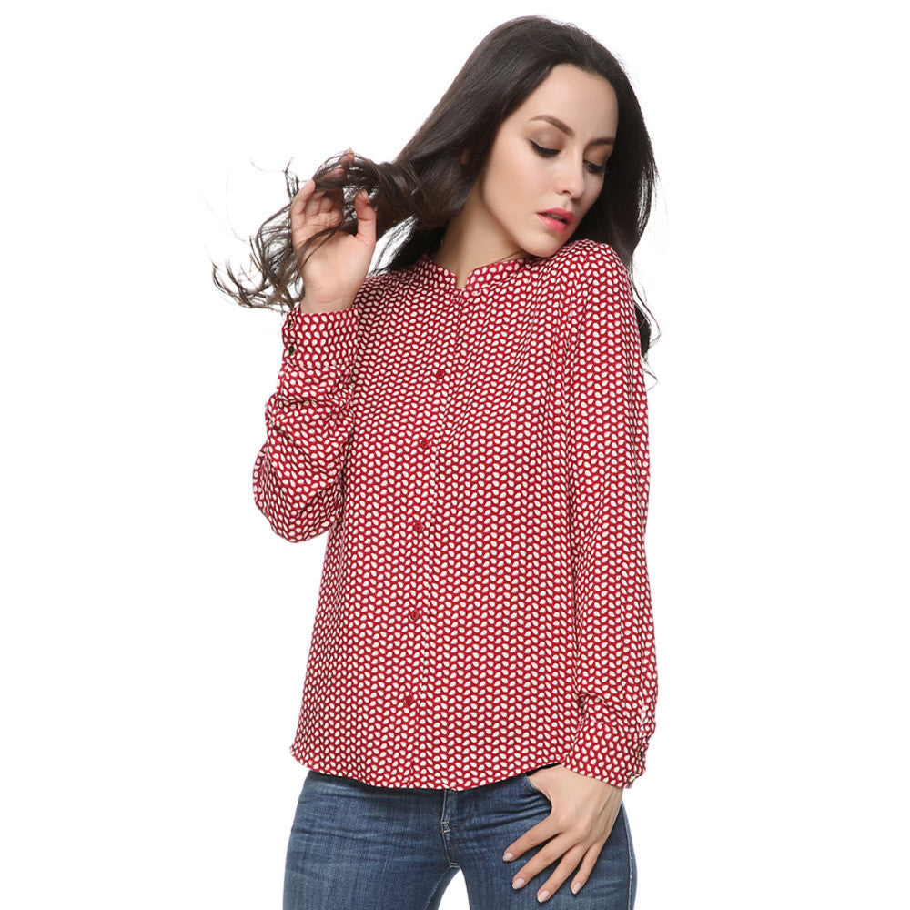 Women red leaves cotton blouses vintage stand collar long sleeve - saÿtii