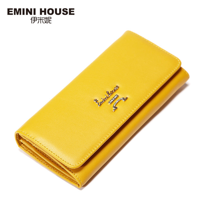 EMINI HOUSE Split Leather Long Wallet New Simple Women Wallets Zipper & Hasp