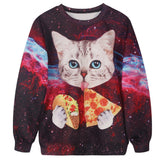 2016 Punk Sweatshirt Women Hoodies Jacket Fashion kitten eating pizz