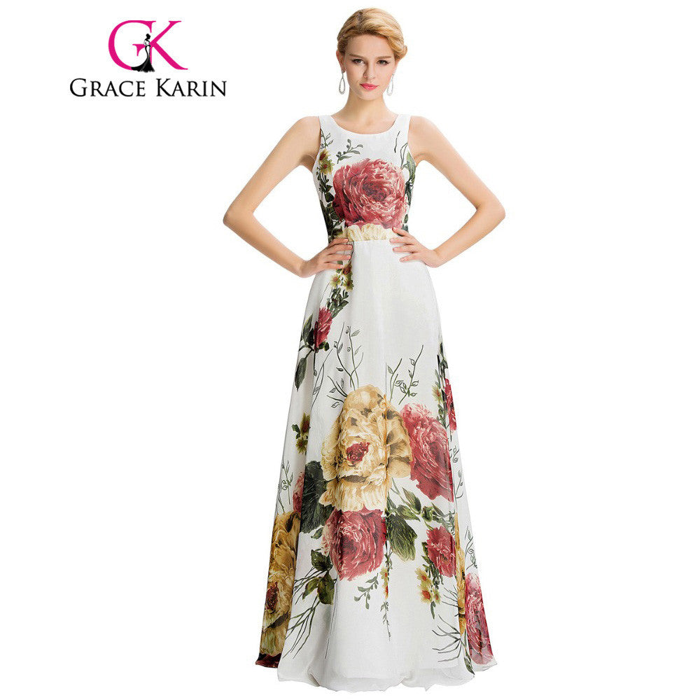 New Arrival Long Evening Dress Floral Print Sleeveless