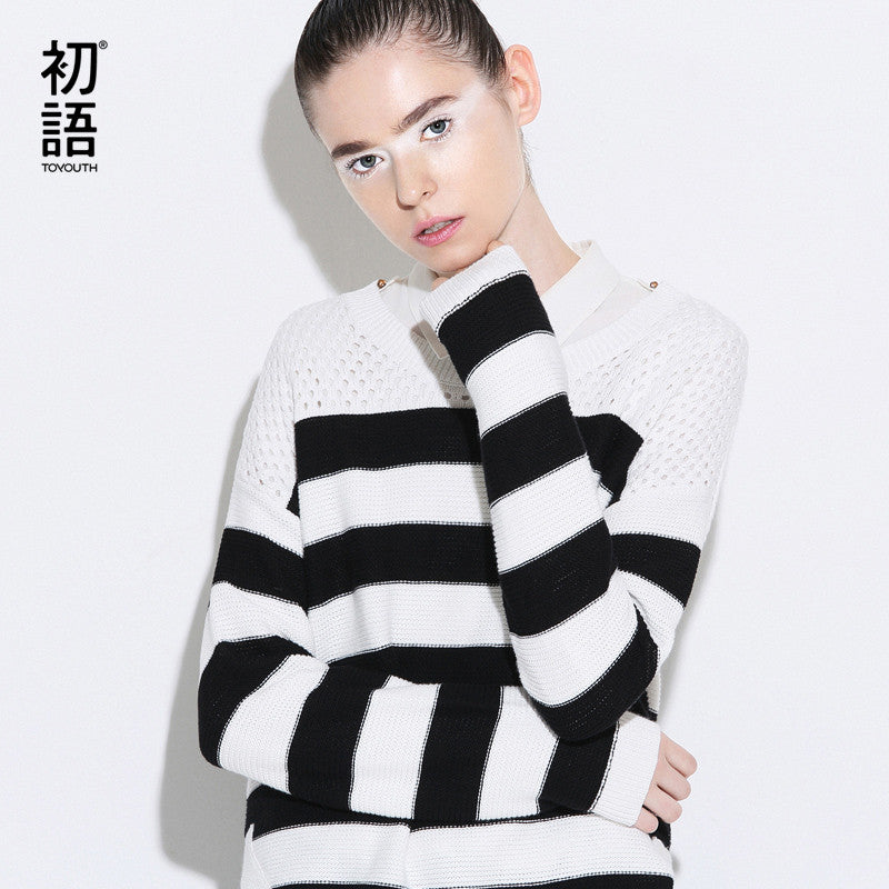 Spring New Women Stripe Patchwork Long Sleeve