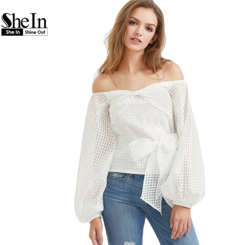 Long Sleeve Blouse Women 2017 Off The Shoulder