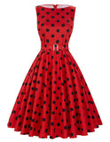 2017 Summer Women Dress Audrey Hepburn Vestidos Sleeveless Polka