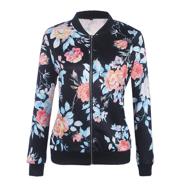 Fashion Autumn Basic Bomber Jacket women Floral Slim Casual - saÿtii