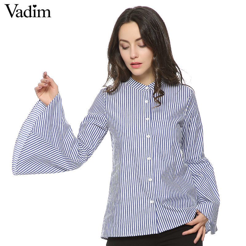 Women full cotton sweet flare sleeve striped blouses long sleeve - saÿtii